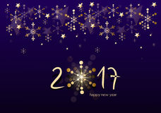 New year greeting card. Beautiful new year greeting card with golden decorations royalty free illustration