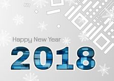 2018 New Year abstract numbers with snowflakes. 2018 new year greeting card with blue colors and geometric shapes. numbers. Used clipping masks stock illustration