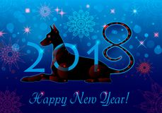 Cyborg dog blue. New Year greeting card in blue. Vector illustration of New Year mascot Dog. Cyborg dog blue royalty free illustration