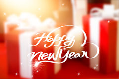 New Year greeting card, Blurred background in gift box celebration Stock Images