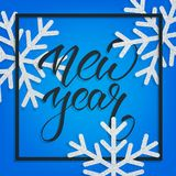 New Year. Greeting card with New Year calligraphy and gold glitter snowflakes. Festive background for winter holidays Royalty Free Stock Photography