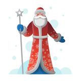 New Year greeting card with cartoon Father Frost Stock Photos
