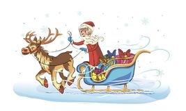 Grandfather frost on sleigh Stock Images