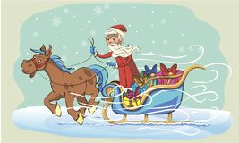 Grandfather frost on sleigh Stock Photography