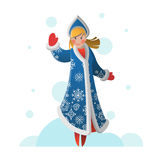New Year greeting card with cartoon Snow Maiden Royalty Free Stock Images