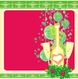 New year greeting card with champagne Stock Photography