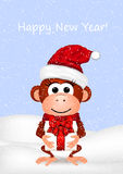 New Year greeting card with cheerful monkey in. Santa hat. Vector illustration Stock Photos