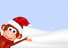 New Year greeting card with cheerful monkey in Royalty Free Stock Photography
