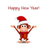 New Year greeting card with cheerful monkey. In Santa hat on a white background Royalty Free Stock Images