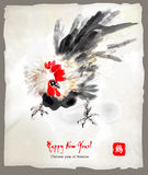 New year greeting card. Chinese year of rooster. Rooster on New Year greeting card. Chinese style illustration is based on asian traditional water-colour Royalty Free Stock Images