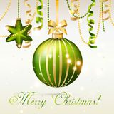 New Year greeting card. Christmas Ball with bow and ribbon. Royalty Free Stock Photo
