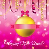 New Year greeting card. Christmas Ball with bow and ribbon. Stock Image