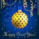 New Year greeting card. Christmas Ball with bow and ribbon. Royalty Free Stock Photos