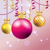 New Year greeting card. Christmas Ball with bow and ribbon. Royalty Free Stock Image