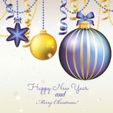 New Year greeting card. Christmas Ball with bow and ribbon. Royalty Free Stock Photography