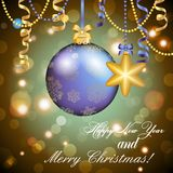 New Year greeting card. Christmas Ball with bow and ribbon. Stock Photos