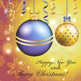New Year greeting card. Christmas Ball with bow and ribbon. Stock Photo
