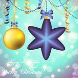 New Year greeting card. Christmas Ball with bow and ribbon. Stock Photography