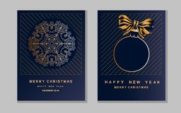 New Year greeting card with christmas ball and snowflake. New Year greeting card with christmas ball and n snowflake royalty free illustration