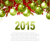 New Year Greeting Card. With Christmas balls and place for text Stock Photography