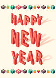 New Year greeting card christmas gift 3d Isometric Stock Image