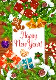 New Year greeting card of Christmas holiday design. Happy New Year wishes greeting card of Christmas holiday celebration. Xmas tree and holly wreath with Santa Royalty Free Stock Image