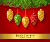 New Year greeting card with Christmas ornaments Stock Photos