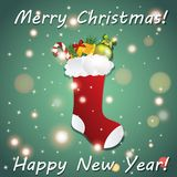 New Year greeting card with Christmas sock for gifts. Stock Image