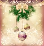 New Year greeting card with Christmas tree and decorations with toys, bow and frame. Ornament background Royalty Free Stock Photography