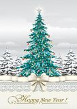 New Year 2019. Greeting card with a Christmas tree stock illustration