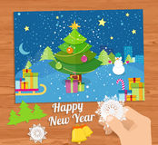 New Year greeting card with christmas tree snowman Stock Photos