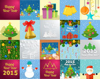 New Year greeting card with christmas tree snowman. Set of snowflake and New Year greeting card with decorated christmas tree, snowmans and gifts against the Stock Image