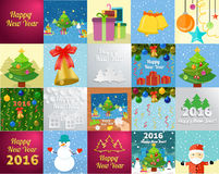 New Year greeting card with christmas tree snowman. Set of snowflake and New Year 2016 greeting card with decorated christmas tree, snowmans and gifts against stock illustration