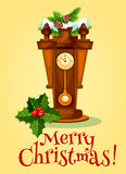 New Year greeting card with clock and pine tree Stock Photography
