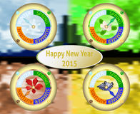 New Year greeting card with a clock showing the four seasons Royalty Free Stock Photo