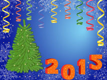 New Year 2015 greeting card. New Year 2015 composition with green Christmas Tree, serpentine and New Year decorations, hand drawing vector illustration Royalty Free Illustration