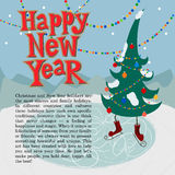 New year greeting card concept. Winter background with text royalty free illustration