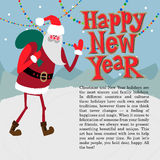 New year greeting card concept. Winter background with text vector illustration