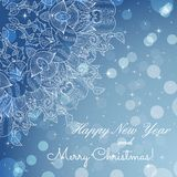 New Year greeting card. Congratulations on Christmas. Circle lace hand-drawn ornament card Stock Photography