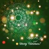 New Year greeting card. Congratulations on Christmas. Circle lace hand-drawn ornament card Stock Photos