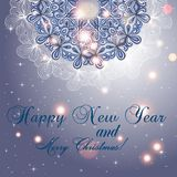 New Year greeting card. Congratulations on Christmas. Circle lace hand-drawn ornament card Royalty Free Stock Photography