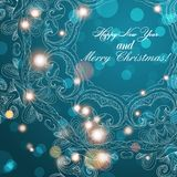 New Year greeting card. Congratulations on Christmas. Circle lace hand-drawn ornament card Royalty Free Stock Image