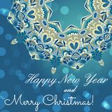 New Year greeting card. Congratulations on Christmas. Circle lace hand-drawn ornament card Royalty Free Stock Photo