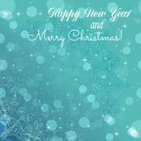 New Year greeting card. Congratulations on Christmas. Circle lace hand-drawn ornament card Stock Image