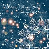 New Year greeting card. Congratulations on Christmas. Circle lace hand-drawn ornament card Stock Images