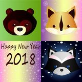Forest animals on a bright gradient background - happy new year. New Year greeting card with cute cartoon forest animals: teddy bear, funny squirrel and cute Royalty Free Stock Images