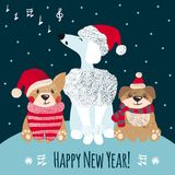 New year greeting card with cute dogs. New year greeting card with cute hand drawn dogs. Christmas concept. Chinese new year. Vector illustration vector illustration