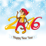 New Year greeting card with cute monkey Stock Image