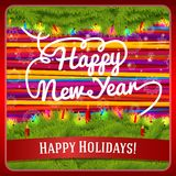 New Year greeting card decorated by pine wreath Royalty Free Stock Images