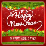 New Year greeting card decorated by pine wreath Stock Photos